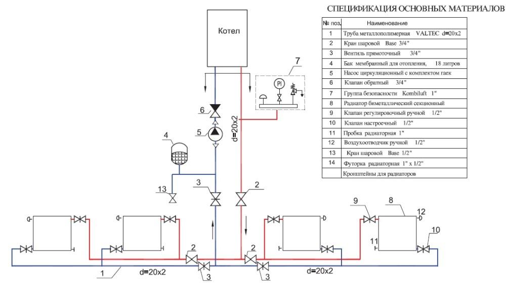 схема для отопления частного дома